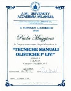 Tecniche manuali olistiche I° liv. - Paola Maggioni