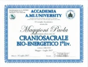 Attestato Craniosacrale Bio-energetico I° liv. - maggio 2017/luglio 2017 - Paola Maggioni