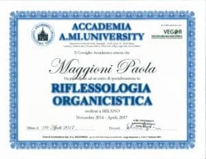 Attestato Riflessologia Organicistica - novembre 2016/aprile 2017 - Paola Maggioni