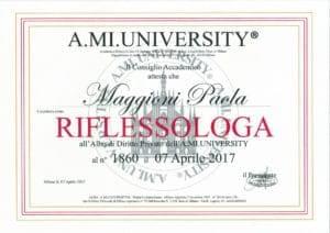 Iscrizione Albo di Diritto Privato al n°1860 A.MI. UNIVERSITY RIFLESSOLOGA - 07 aprile 2017 - Paola Maggioni