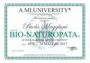 Iscrizione Albo di Diritto Privato al n°1872 A.MI. UNIVERSITY BIO-NATUROPATA - 24maggio 2017 - Paola Maggioni
