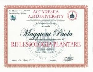 Attestato Riflessologia Plantare - corso annuale marzo 2016/aprile 2017 - Paola Maggioni