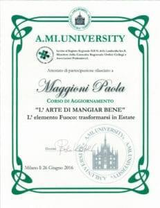"""Corso di aggiornamento """"L'ARTE DI MANGIAR BENE"""" - Paola Maggioni"""