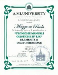 Tecniche manuali olistiche II° liv. - Paola Maggioni