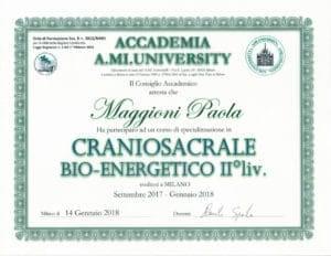 Attestato Craniosacrale Bio-energetico II° liv. - settembre 2017/gennaio 2018 - Paola Maggioni